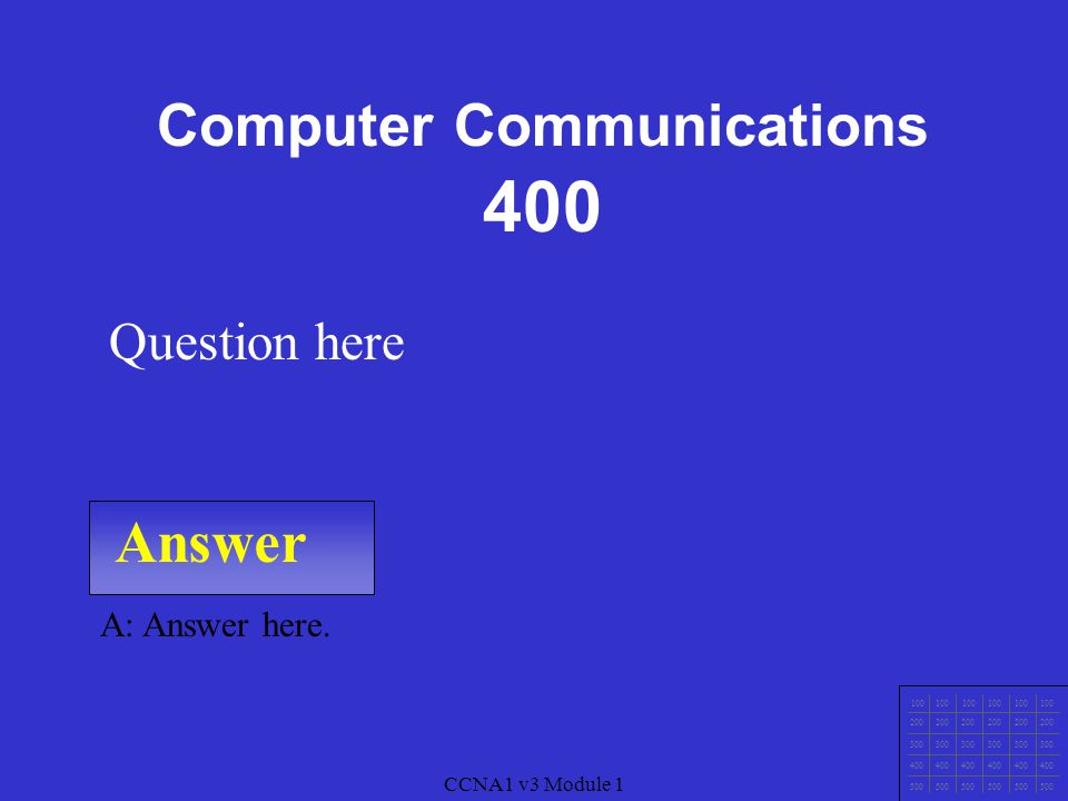 CCNA1 v3 Module 1 Answer 100 200 300 400 500 CCNA1 v3 Module 1 A: Answer here.