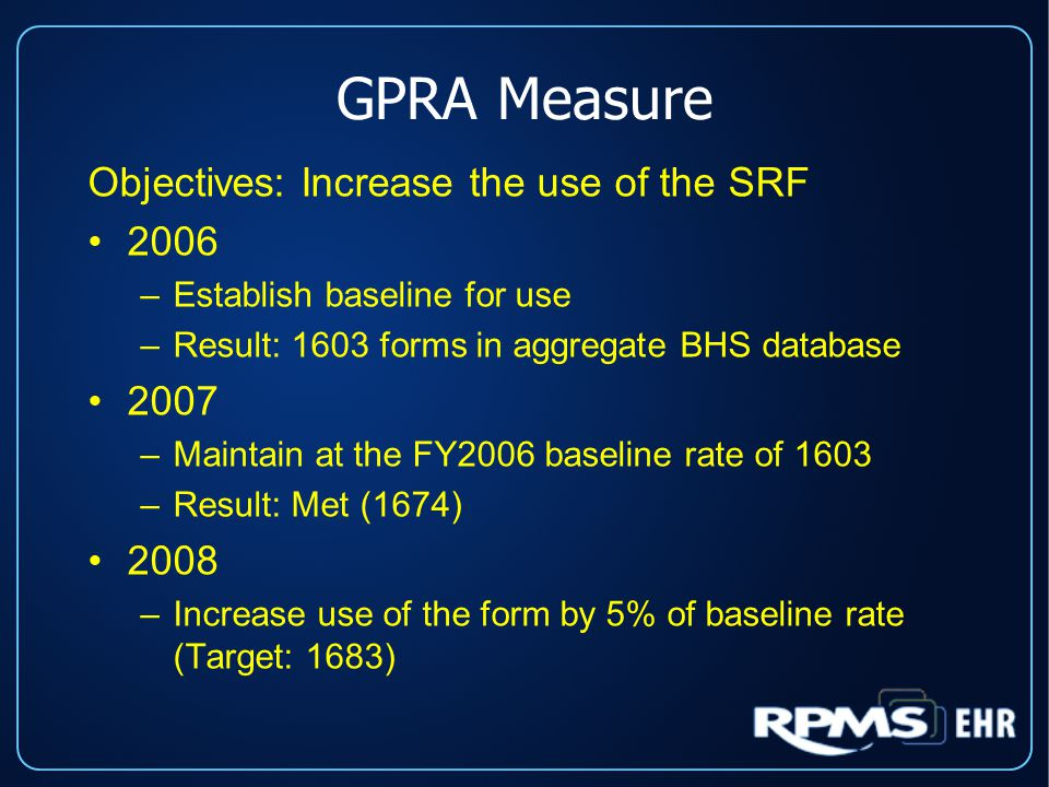 GPRA Measure Objectives: Increase the use of the SRF 2006 –Establish baseline for use –Result: 1603 forms in aggregate BHS database 2007 –Maintain at the FY2006 baseline rate of 1603 –Result: Met (1674) 2008 –Increase use of the form by 5% of baseline rate (Target: 1683)