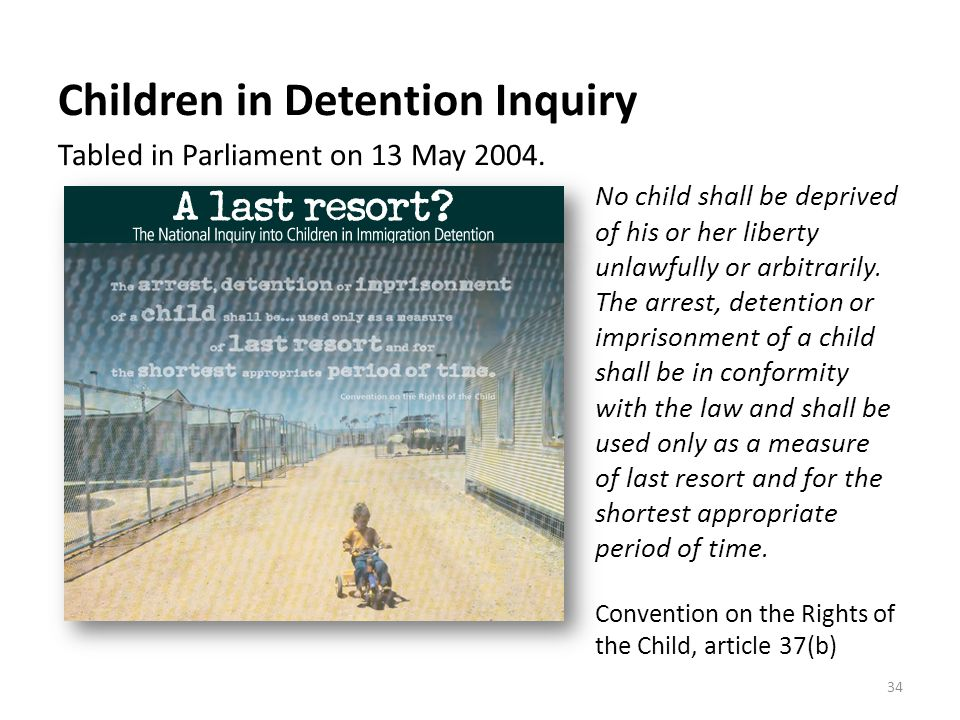 Children in Detention Inquiry Tabled in Parliament on 13 May 2004.