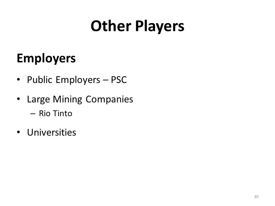 Other Players Employers Public Employers – PSC Large Mining Companies – Rio Tinto Universities 40