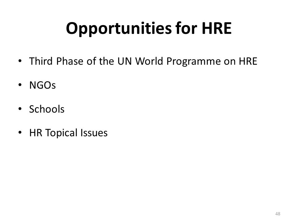 Opportunities for HRE Third Phase of the UN World Programme on HRE NGOs Schools HR Topical Issues 48