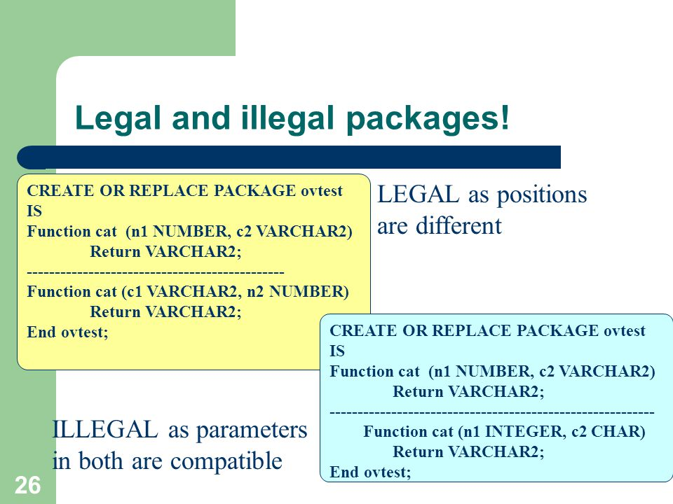 26 Legal and illegal packages! CREATE OR REPLACE PACKAGE ovtest IS Function cat (n1 NUMBER, c2 VARCHAR2) Return VARCHAR2; ----------------------------