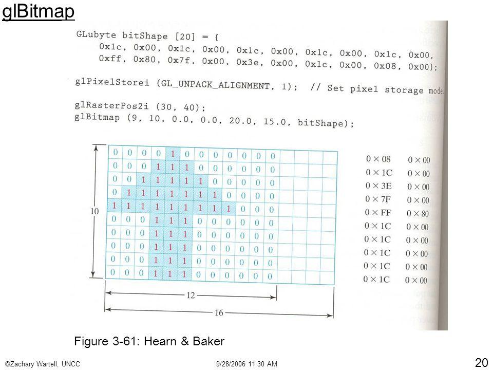 ©Zachary Wartell, UNCC9/28/2006 11:30 AM 20 glBitmap Figure 3-61: Hearn & Baker