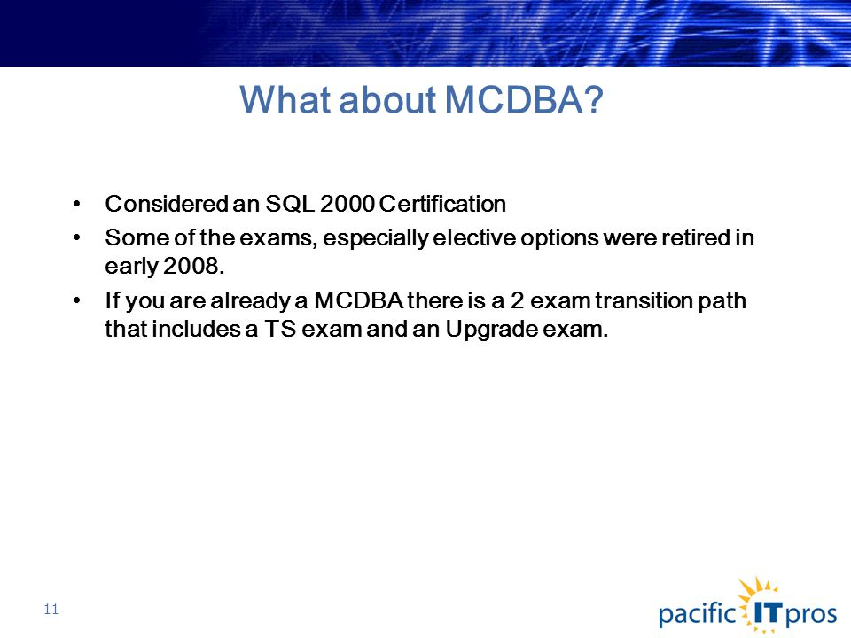 What about MCDBA.