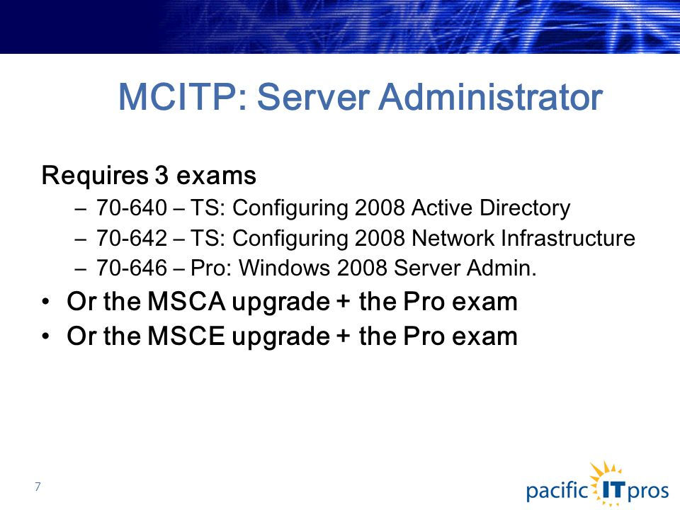 MCITP: Server Administrator Requires 3 exams –70-640 – TS: Configuring 2008 Active Directory –70-642 – TS: Configuring 2008 Network Infrastructure –70-646 – Pro: Windows 2008 Server Admin.