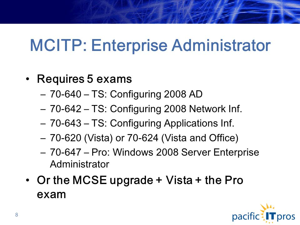 MCITP: Enterprise Administrator Requires 5 exams –70-640 – TS: Configuring 2008 AD –70-642 – TS: Configuring 2008 Network Inf.