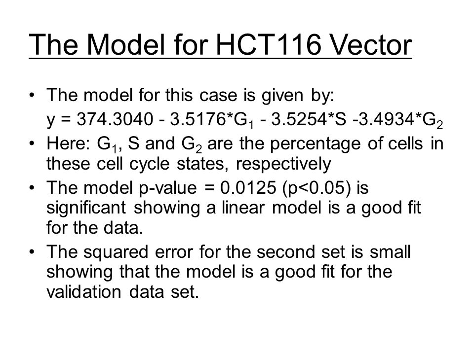 The Model for HCT116 Vector The model for this case is given by: y = 374.3040 - 3.5176*G 1 - 3.5254*S -3.4934*G 2 Here: G 1, S and G 2 are the percentage of cells in these cell cycle states, respectively The model p-value = 0.0125 (p<0.05) is significant showing a linear model is a good fit for the data.
