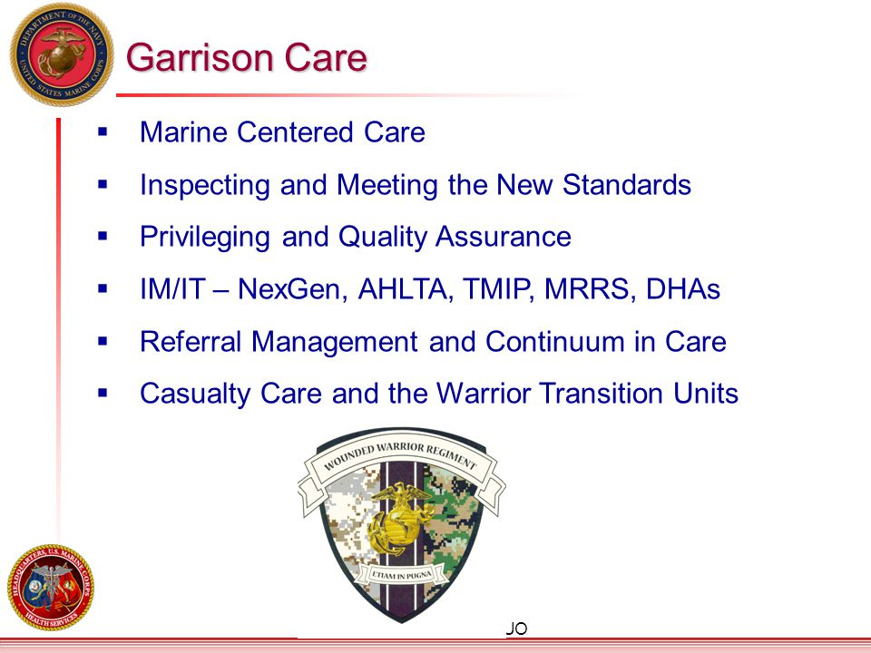 UNCLASSIFIED/FOUO  Marine Centered Care  Inspecting and Meeting the New Standards  Privileging and Quality Assurance  IM/IT – NexGen, AHLTA, TMIP,