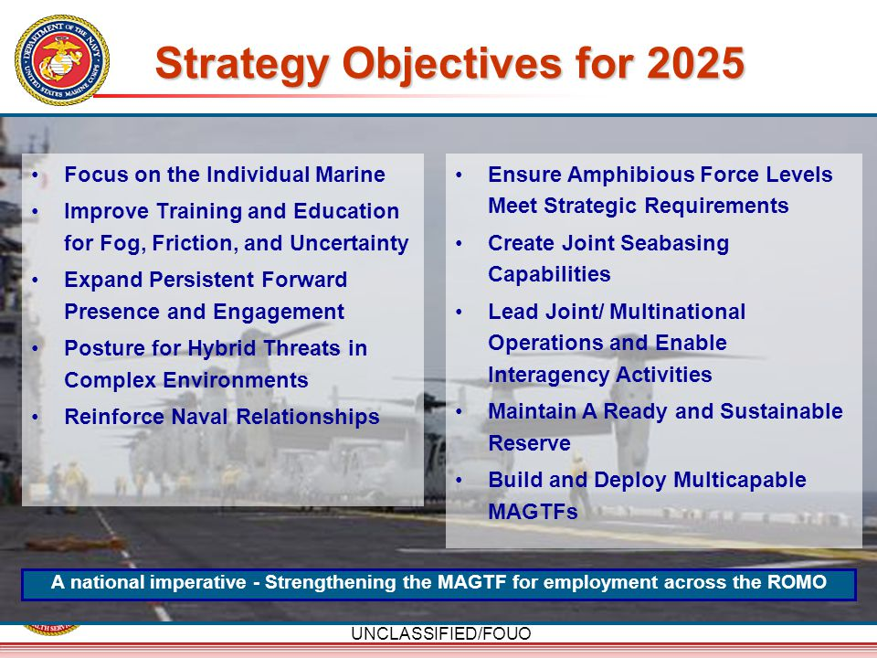 UNCLASSIFIED/FOUO Strategy Objectives for 2025 Focus on the Individual Marine Improve Training and Education for Fog, Friction, and Uncertainty Expand