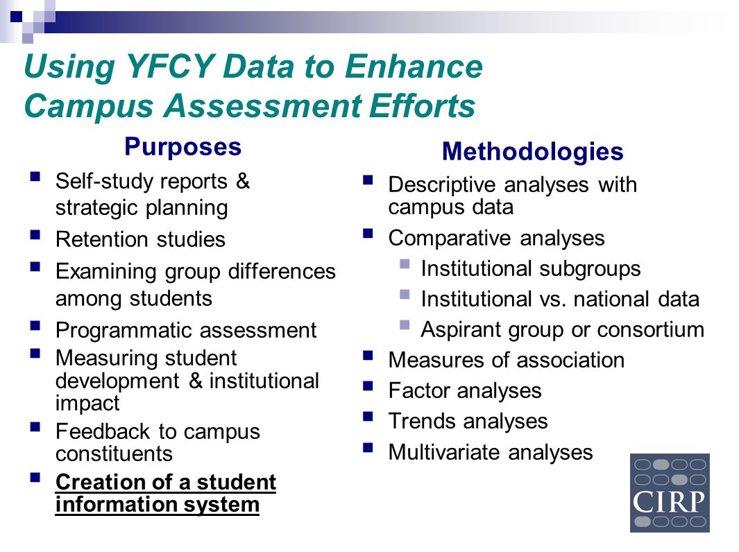 Using YFCY Data to Enhance Campus Assessment Efforts Methodologies  Descriptive analyses with campus data  Comparative analyses  Institutional subg