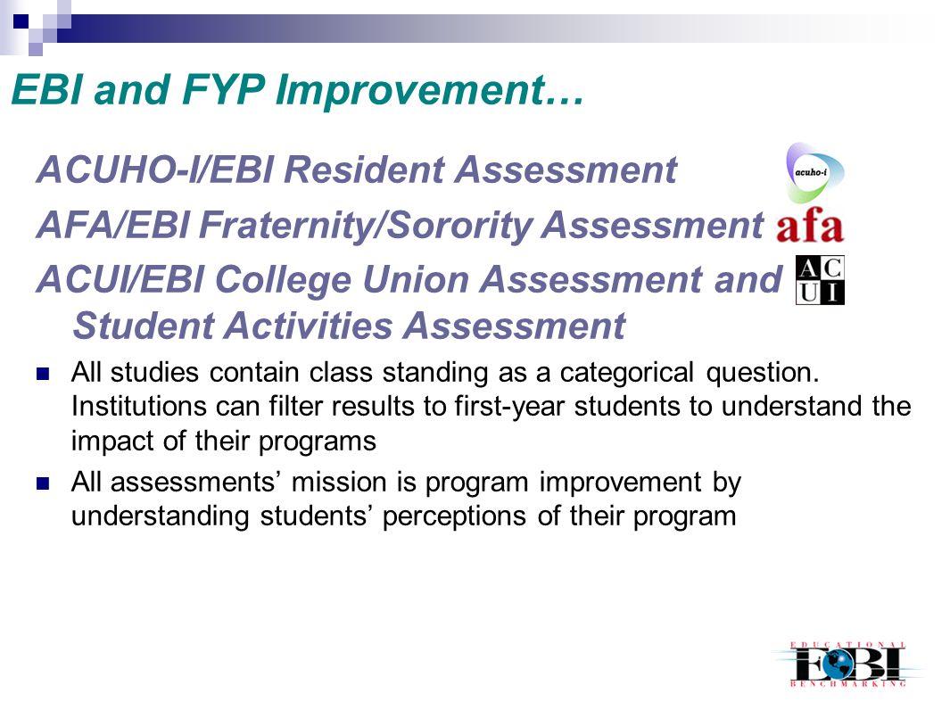 EBI and FYP Improvement… ACUHO-I/EBI Resident Assessment AFA/EBI Fraternity/Sorority Assessment ACUI/EBI College Union Assessment and Student Activiti