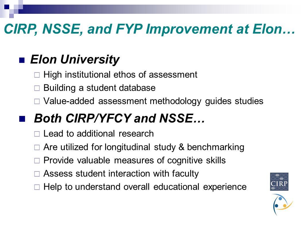 Elon University  High institutional ethos of assessment  Building a student database  Value-added assessment methodology guides studies Both CIRP/Y