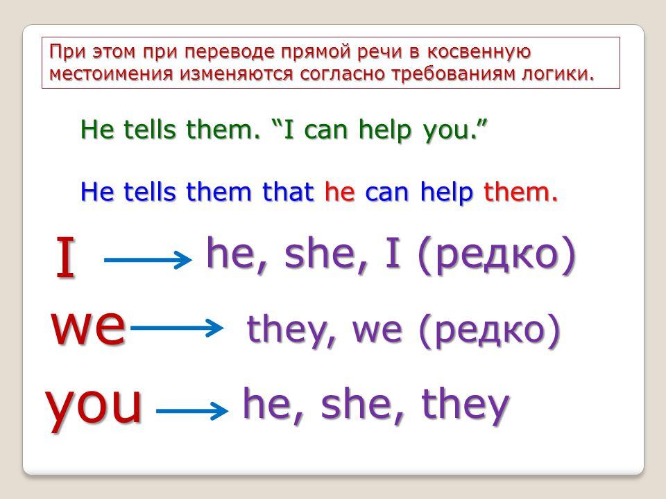 I he, she, I (редко) we they, we (редко) you he, she, they При этом при переводе прямой речи в косвенную местоимения изменяются согласно требованиям л