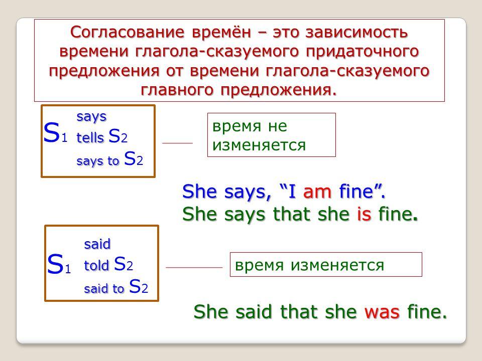 Согласование времён – это зависимость времени глагола-сказуемого придаточного предложения от времени глагола-сказуемого главного предложения. says tel