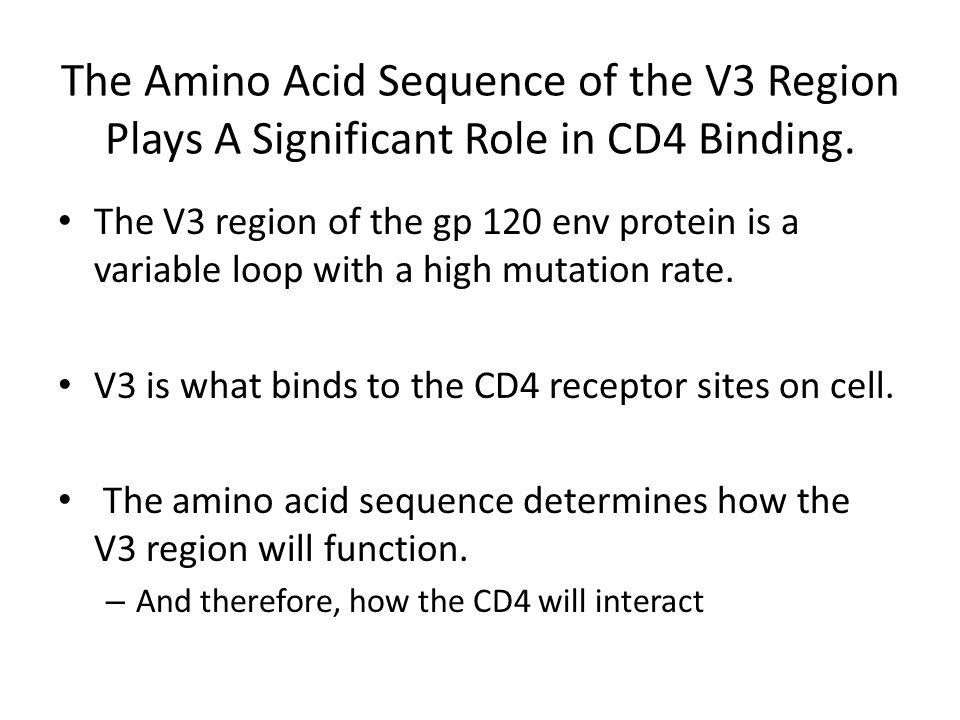 The Amino Acid Sequence of the V3 Region Plays A Significant Role in CD4 Binding.