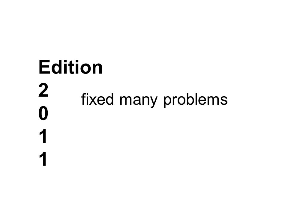 Edition 2 0 1 fixed many problems