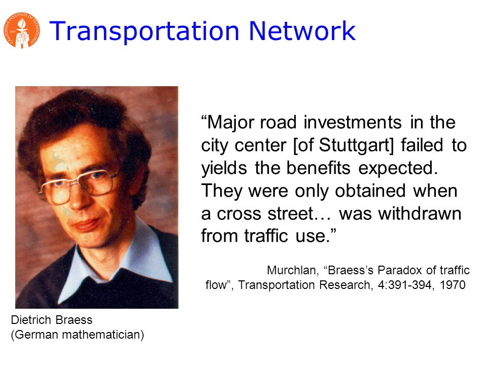 Transportation Network Dietrich Braess (German mathematician) Major road investments in the city center [of Stuttgart] failed to yields the benefits expected.
