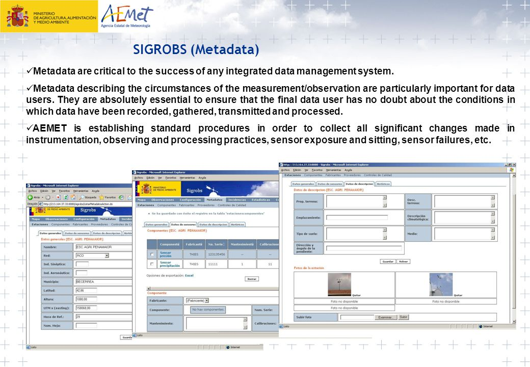 SIGROBS (Metadata) Metadata are critical to the success of any integrated data management system.