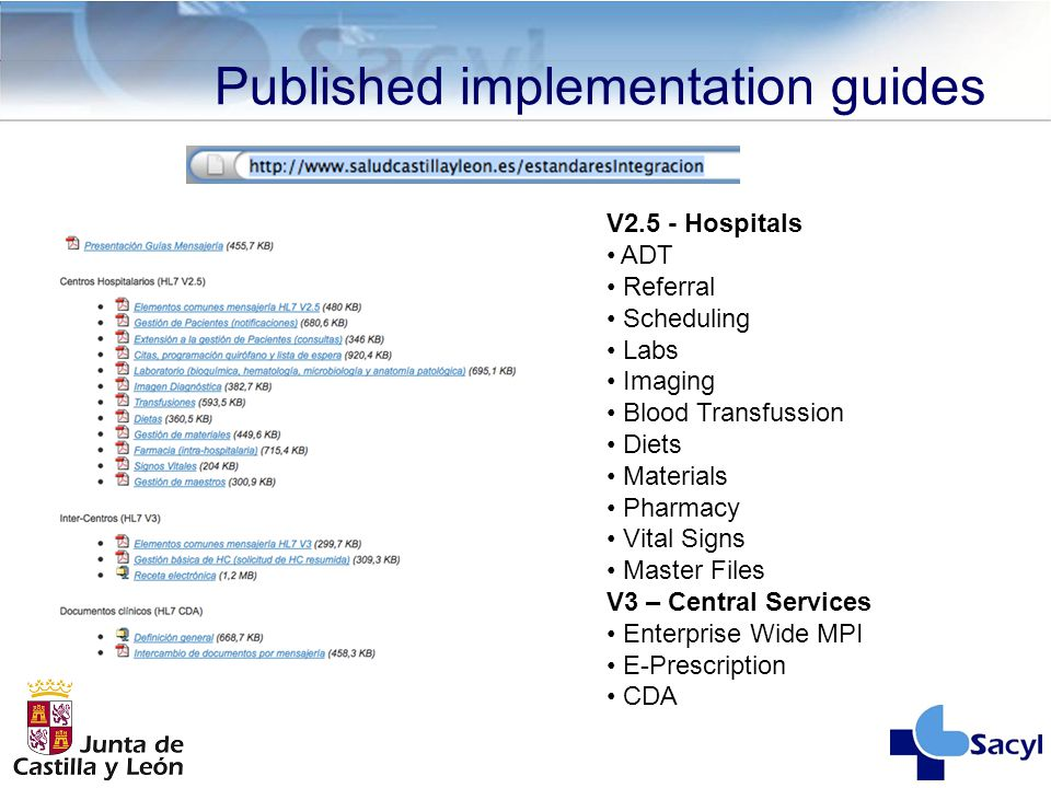 Published implementation guides V2.5 - Hospitals ADT Referral Scheduling Labs Imaging Blood Transfussion Diets Materials Pharmacy Vital Signs Master F