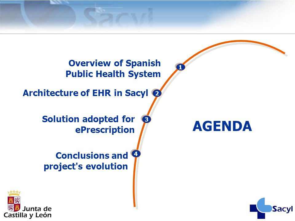 2 3 4 AGENDA 1 Overview of Spanish Public Health System Solution adopted for ePrescription Conclusions and project's evolution Architecture of EHR in