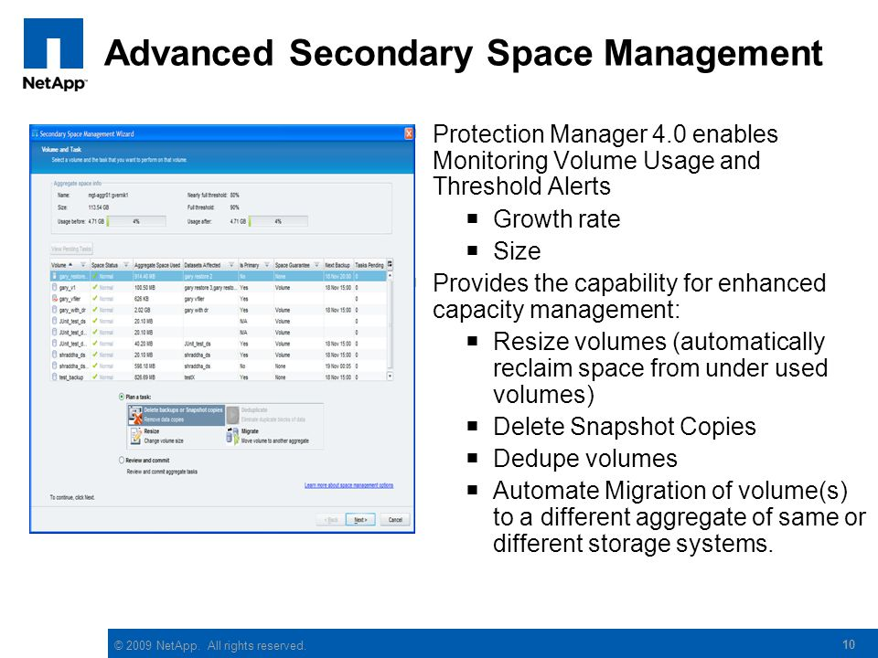 © 2009 NetApp. All rights reserved. Advanced Secondary Space Management  Protection Manager 4.0 enables Monitoring Volume Usage and Threshold Alerts
