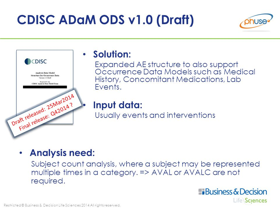 Restricted © Business & Decision Life Sciences 2014 All rights reserved. CDISC ADaM ODS v1.0 (Draft) Solution: Expanded AE structure to also support O