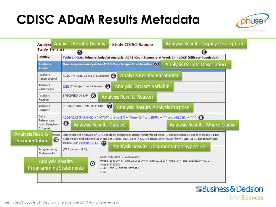 Restricted © Business & Decision Life Sciences 2014 All rights reserved. CDISC ADaM Results Metadata Analysis Results Display Analysis Results Display