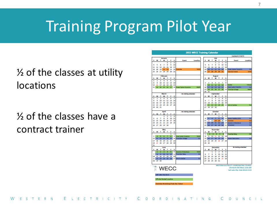 Training Program Pilot Year ½ of the classes at utility locations ½ of the classes have a contract trainer 7 W ESTERN E LECTRICITY C OORDINATING C OUNCIL