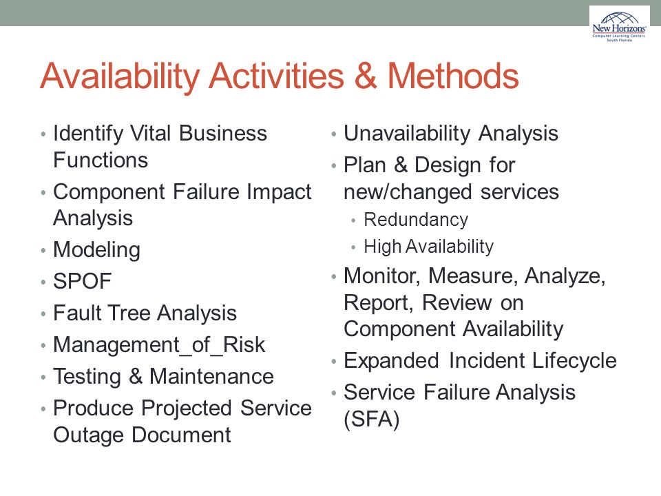 Availability Activities & Methods Identify Vital Business Functions Component Failure Impact Analysis Modeling SPOF Fault Tree Analysis Management_of_