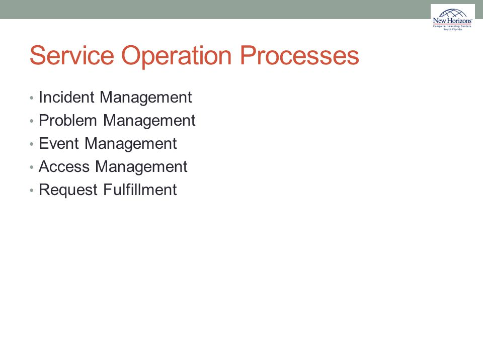 Service Operation Processes Incident Management Problem Management Event Management Access Management Request Fulfillment