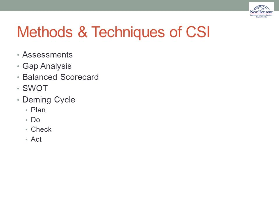 Methods & Techniques of CSI Assessments Gap Analysis Balanced Scorecard SWOT Deming Cycle Plan Do Check Act