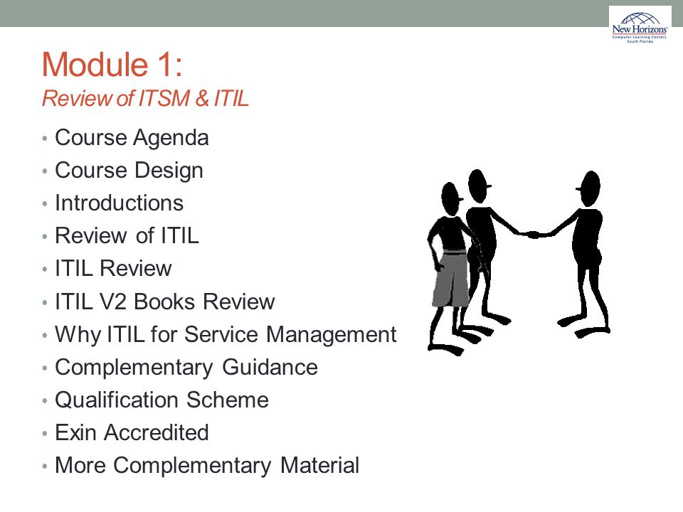 Module 1: Review of ITSM & ITIL Course Agenda Course Design Introductions Review of ITIL ITIL Review ITIL V2 Books Review Why ITIL for Service Managem