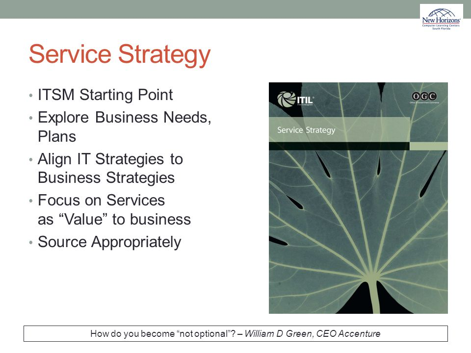 "Service Strategy ITSM Starting Point Explore Business Needs, Plans Align IT Strategies to Business Strategies Focus on Services as ""Value"" to business"