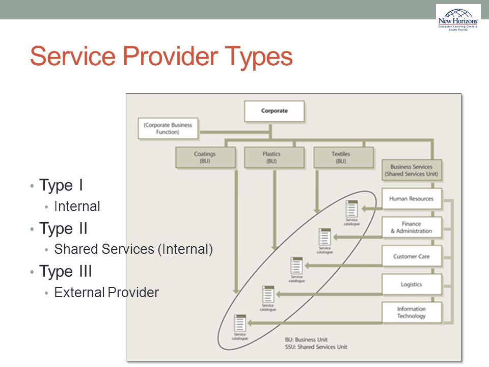 Service Provider Types Type I Internal Type II Shared Services (Internal) Type III External Provider