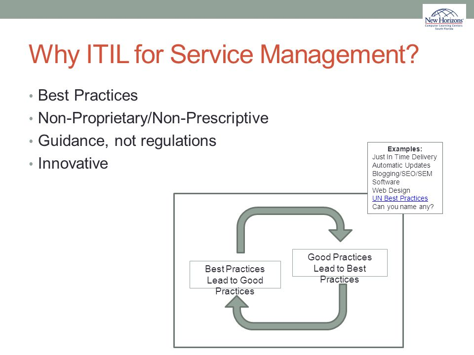 Why ITIL for Service Management? Best Practices Non-Proprietary/Non-Prescriptive Guidance, not regulations Innovative Good Practices Lead to Best Prac