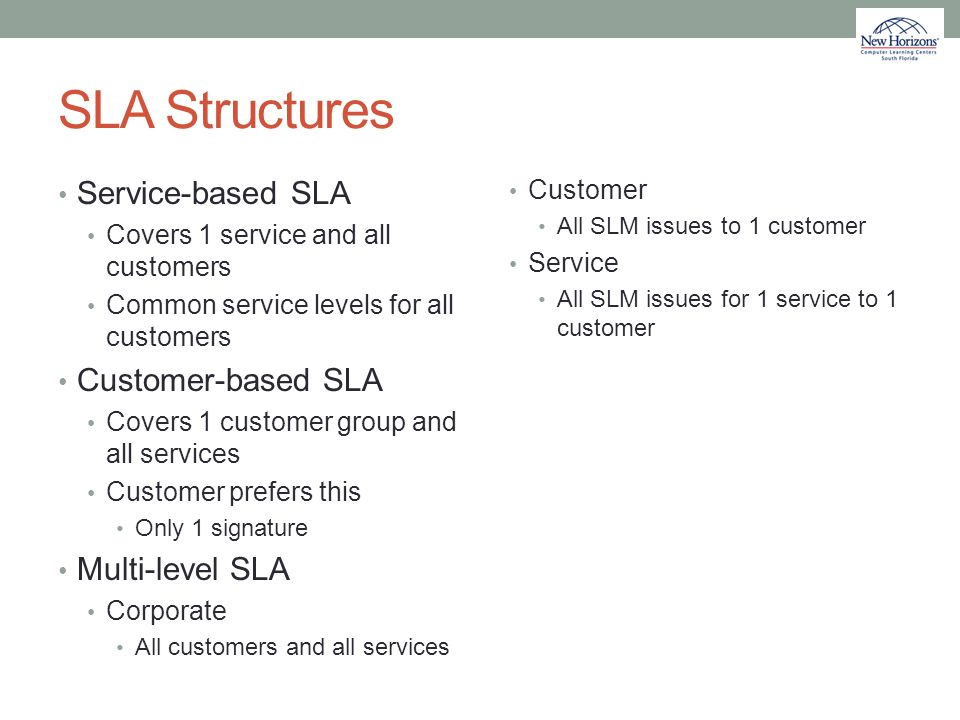 SLA Structures Service-based SLA Covers 1 service and all customers Common service levels for all customers Customer-based SLA Covers 1 customer group