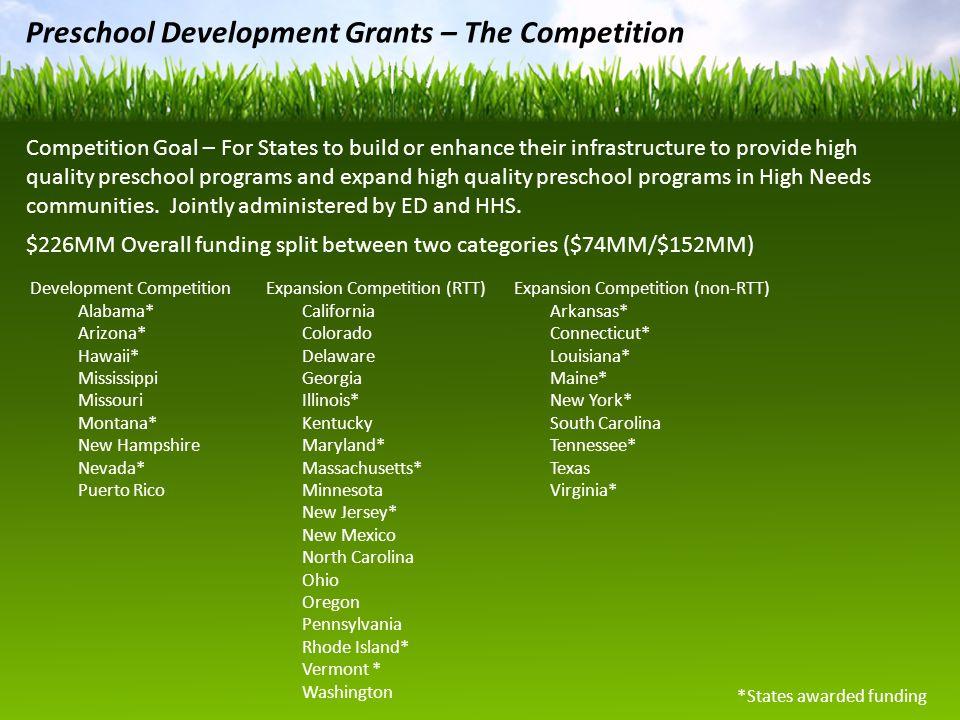 Preschool Development Grants – The Competition Development Competition Alabama* Arizona* Hawaii* Mississippi Missouri Montana* New Hampshire Nevada* P