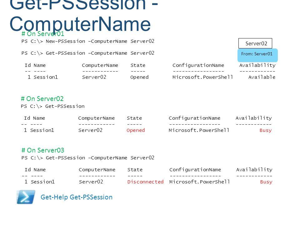 Get-PSSession - ComputerName Get-Help Get-PSSession # On Server01 PS C:\> New-PSSession –ComputerName Server02 PS C:\> Get-PSSession –ComputerName Ser