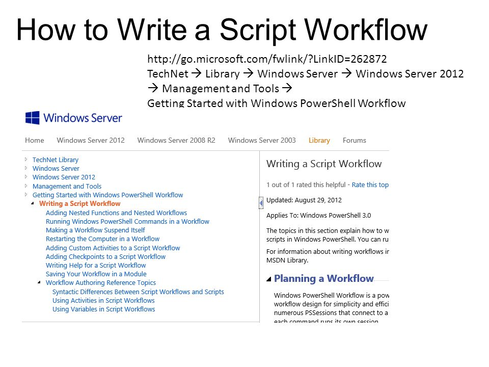 How to Write a Script Workflow http://go.microsoft.com/fwlink/?LinkID=262872 TechNet  Library  Windows Server  Windows Server 2012  Management and