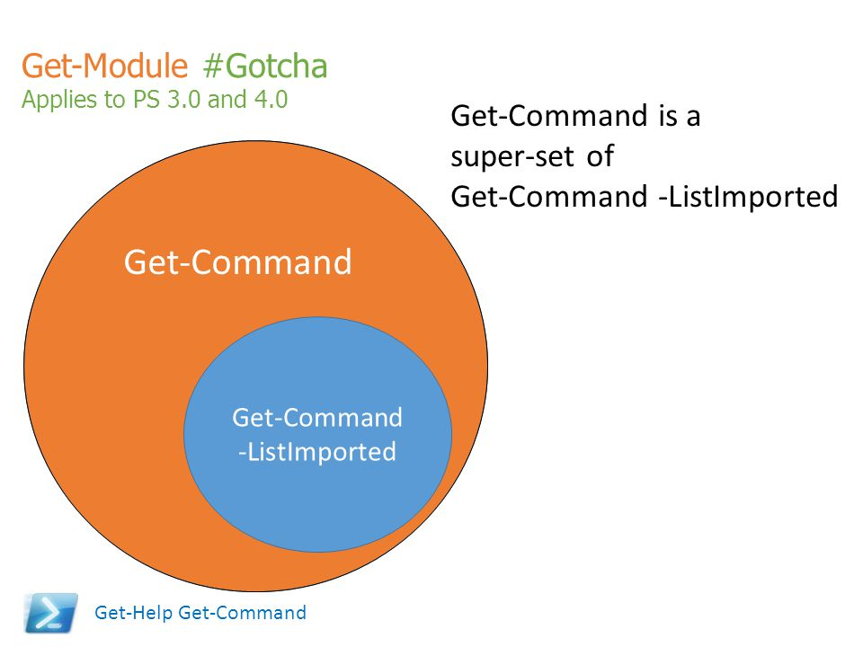 Get-Module #Gotcha Applies to PS 3.0 and 4.0 Get-Command Get-Command -ListImported Get-Command is a super-set of Get-Command -ListImported Get-Help Ge