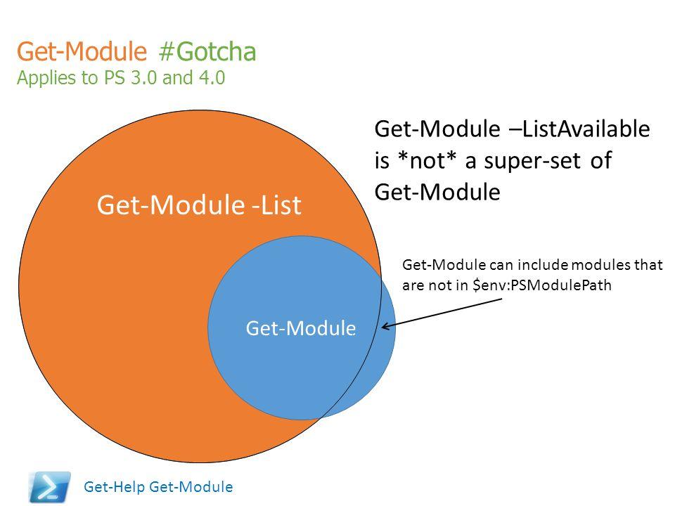 Get-Module #Gotcha Applies to PS 3.0 and 4.0 Get-Module -List Get-Module Get-Module –ListAvailable is *not* a super-set of Get-Module Get-Module can i
