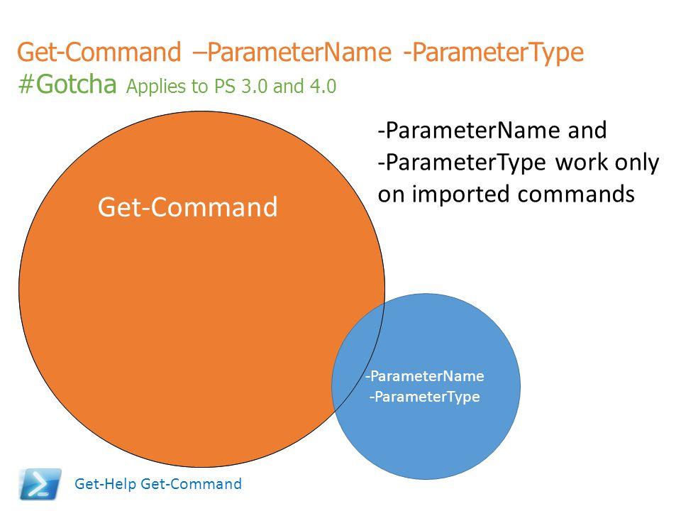 Get-Command –ParameterName -ParameterType #Gotcha Applies to PS 3.0 and 4.0 Get-Command -ParameterName -ParameterType -ParameterName and -ParameterTyp