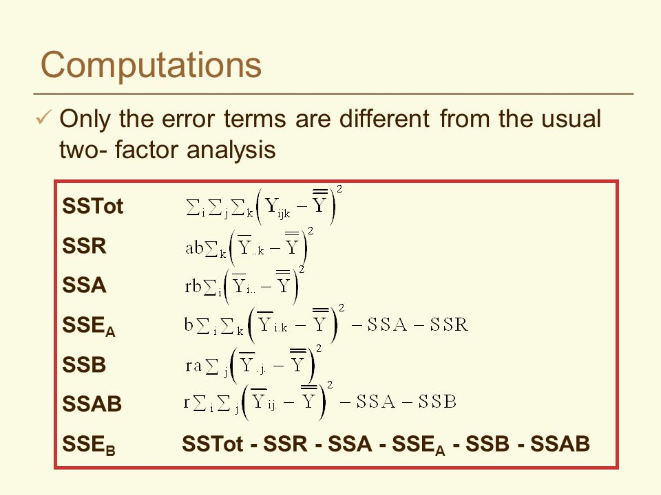 Computations Only the error terms are different from the usual two- factor analysis SSTot SSR SSA SSE A SSB SSAB SSE B SSTot - SSR - SSA - SSE A - SSB