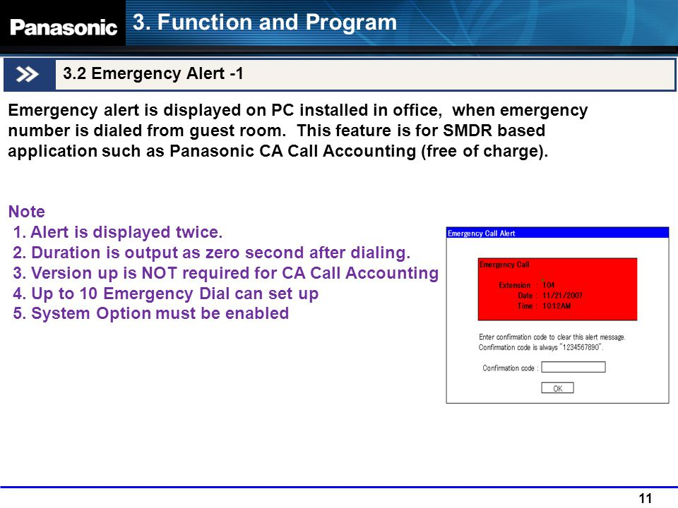 11 3.2 Emergency Alert -1 3. Function and Program Emergency alert is displayed on PC installed in office, when emergency number is dialed from guest r