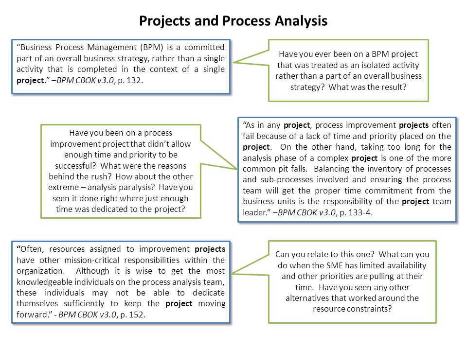 """Projects and Process Analysis """"Business Process Management (BPM) is a committed part of an overall business strategy, rather than a single activity th"""