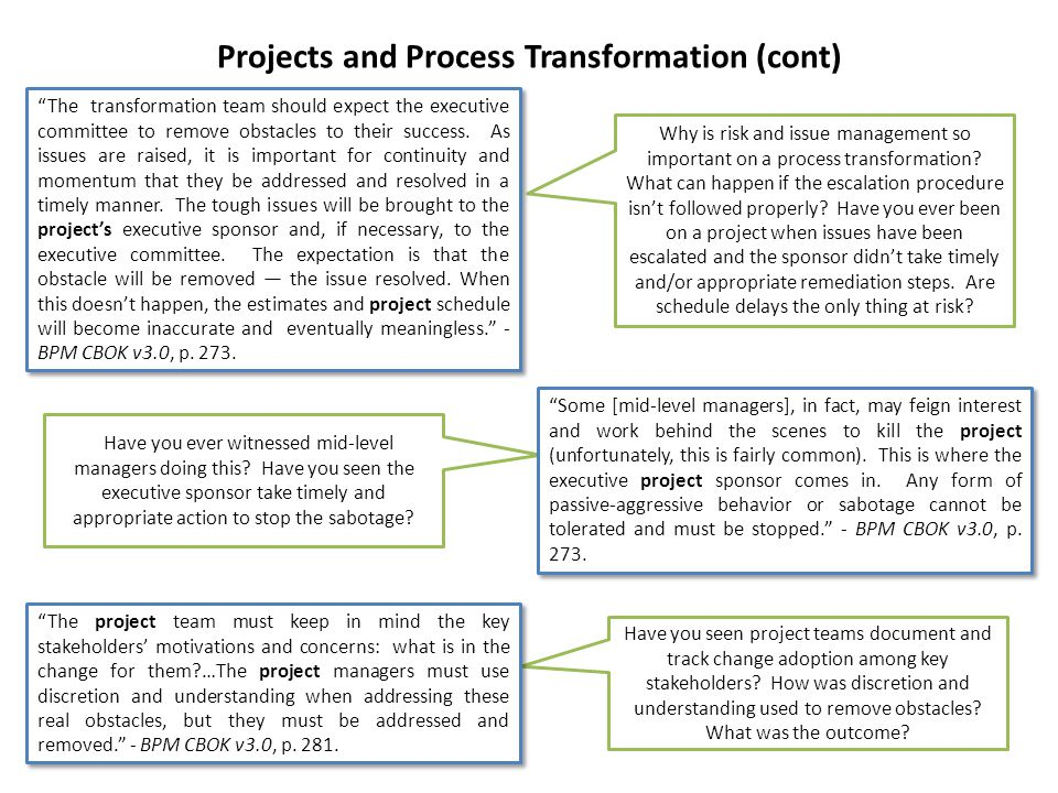 Projects and Process Transformation (cont) Why is risk and issue management so important on a process transformation? What can happen if the escalatio