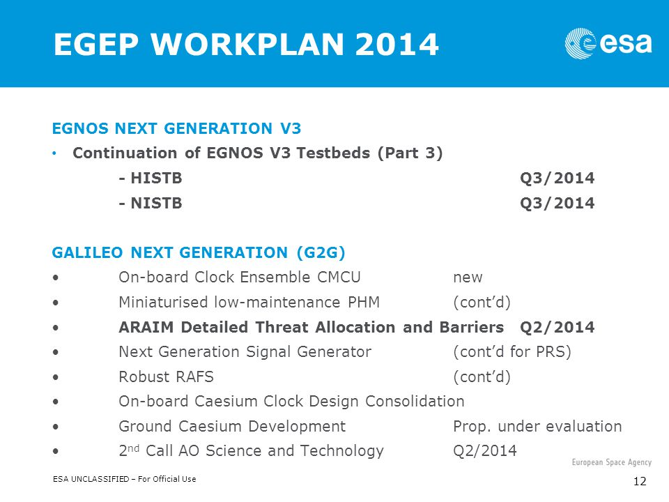 ESA UNCLASSIFIED – For Official Use 12 EGEP WORKPLAN 2014 EGNOS NEXT GENERATION V3 Continuation of EGNOS V3 Testbeds (Part 3) - HISTB Q3/2014 - NISTB Q3/2014 GALILEO NEXT GENERATION (G2G) On-board Clock Ensemble CMCUnew Miniaturised low-maintenance PHM (cont'd) ARAIM Detailed Threat Allocation and Barriers Q2/2014 Next Generation Signal Generator (cont'd for PRS) Robust RAFS (cont'd) On-board Caesium Clock Design Consolidation Ground Caesium DevelopmentProp.