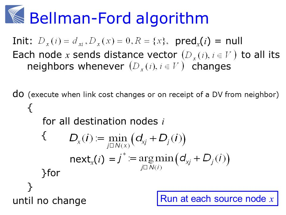 Bellman-Ford algorithm Init: pred x ( i ) = null Each node x sends distance vector to all its neighbors whenever changes do (execute when link cost changes or on receipt of a DV from neighbor) { for all destination nodes i { next x ( i ) = }for } until no change Run at each source node x