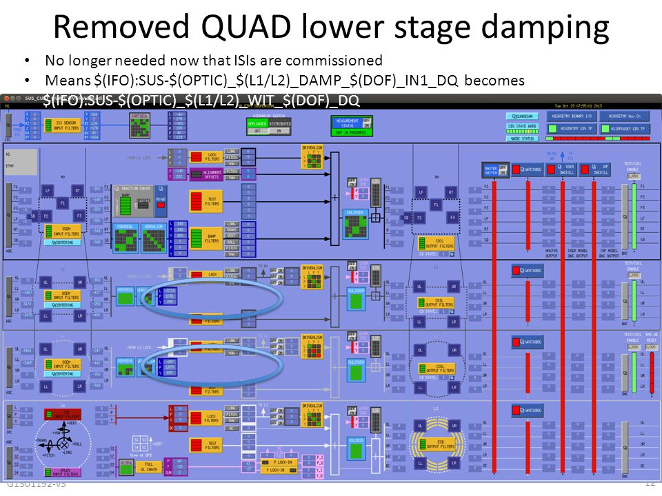 Removed QUAD lower stage damping G1301192-v3 12 No longer needed now that ISIs are commissioned Means $(IFO):SUS-$(OPTIC)_$(L1/L2)_DAMP_$(DOF)_IN1_DQ