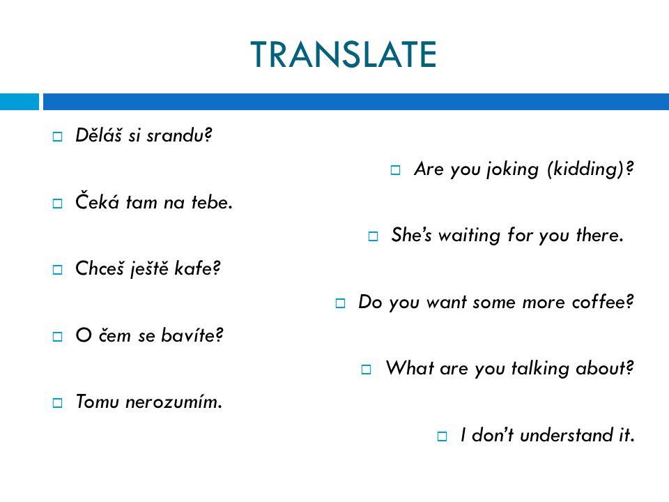 TRANSLATE  Děláš si srandu.  Are you joking (kidding).